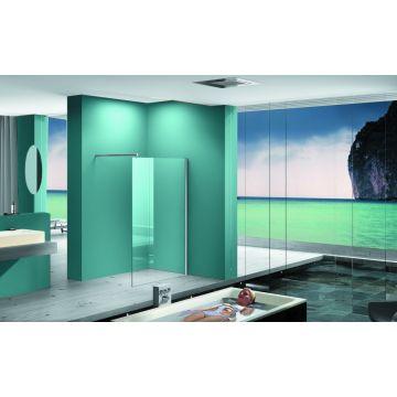Wiesbaden Eco inloopdouche met muurprofiel 120x200x0,8 cm NANO glas, chroom