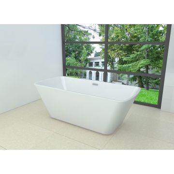Wiesbaden Larx vrijstaand rechthoekig acryl ligbad 170x78 cm inclusief waste, wit