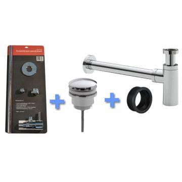 Sub Uni-1 aansluitset fontein/wastafel met luxe sifon, chroom