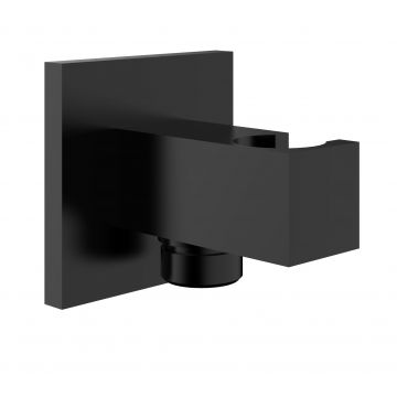 Wiesbaden Rombo handdouchehouder met doucheaansluiting + opsteek vierkant 1/2'' zwart
