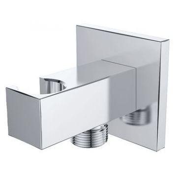 """Wiesbaden Luxe douche aansluiting met opsteek vierkant 1/2"""", chroom"""