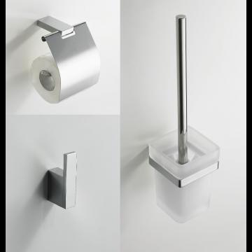 Wiesbaden Eris accessoire-set, toiletborstel+toiletrolhouder+haak, hoekig, chroom