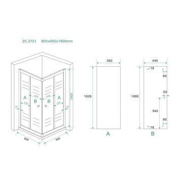 Wiesbaden Eco hoekinstap douchecabine 90x90x190 cm, aluminium