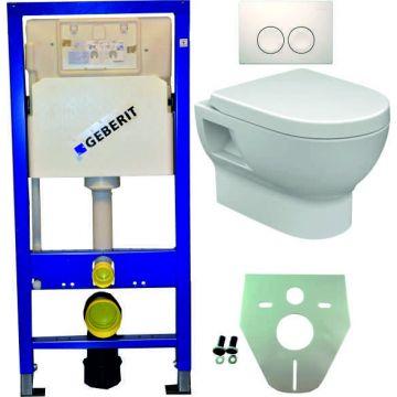 Toiletset Geberit UP100 Duofix + Wiesbaden Mercurius hangend toilet met zitting + Geberit Geberit Delta21 bedieningsplaat, wit