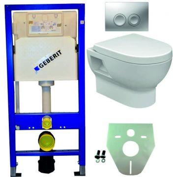 Toiletset Geberit UP100 Duofix + Wiesbaden Mercurius hangend toilet met zitting + Geberit Delta21 bedieningsplaat, matchroom