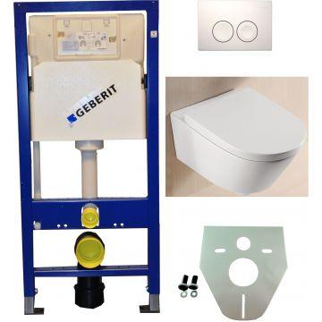 Toiletset Geberit UP100 Duofix + Wiesbaden Metro hangend toilet met zitting + Geberit Delta21 bedieningsplaat, wit