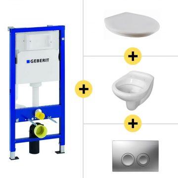 Toiletset Geberit UP100 Duofix + Wiesbaden Neptunus hangend toilet met zitting + Geberit Delta21 bedieningsplaat, matchroom