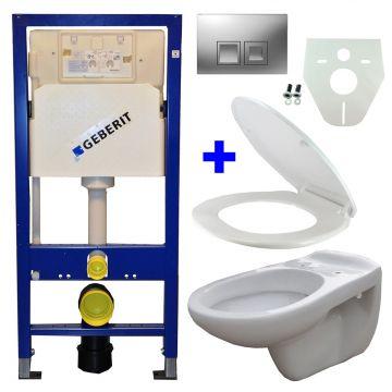 Toiletset Geberit UP100 Duofix + Wiesbaden Neptunus hangend toilet met zitting Geberit Delta50 bedieningsplaat, matchroom