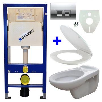 Toiletset Geberit UP100 Duofix + Wiesbaden Neptunus hangend toilet met zitting + Geberit Delta50 bedieningsplaat, chroom