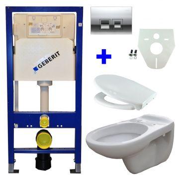 Toiletset Geberit UP100 Duofix + Wiesbaden Neptunus hangend toilet met Ultimo zitting + Geberit Delta50 bedieningsplaat, chroom