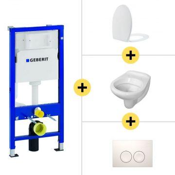 Toiletset Geberit UP100 Duofix + Wiesbaden Neptunus hangend toilet met Ultimo zitting + Geberit Delta21 bedieningsplaat, wit