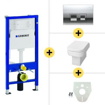 Toiletset Geberit UP100 Duofix + Wiesbaden Carré hangend toilet met zitting + Geberit Delta50 bedieningsplaat, matchroom