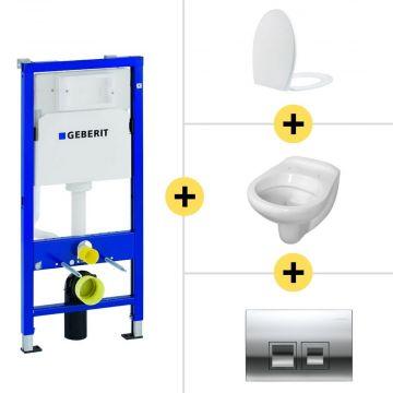 Toiletset Geberit UP100 Duofix + Wiesbaden Neptunus hangend toilet met Ultimo zitting + Geberit Delta50 bedieningsplaat, matchroom