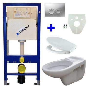 Toiletset Geberit UP100 Duofix + Wiesbaden Neptunus hangend toilet met Ultimo zitting + Geberit Delta21 bedieningsplaat, matchroom