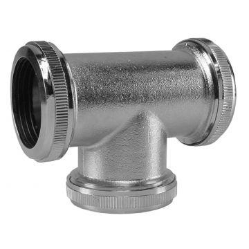 Sub chroom koppel-T-stuk 32 mm tbv vloerbuis
