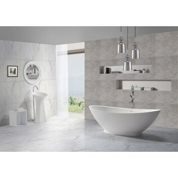 Sub vrijstaand bad type 2, 1860 x 820 x 590 mm, solid surface, mat wit