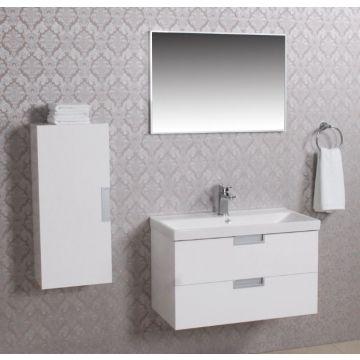 Wiesbaden Tempo badmeubelset 80 cm met keramische wastafel en spiegel en halfhoge zijkast, wit