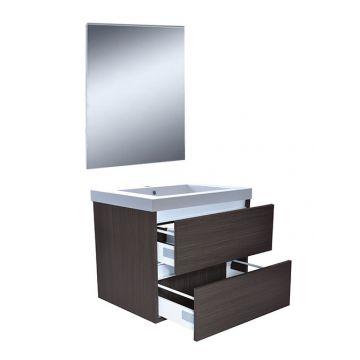 Wiesbaden Vision meubelset met spiegel 60 cm, houtnerf grijs