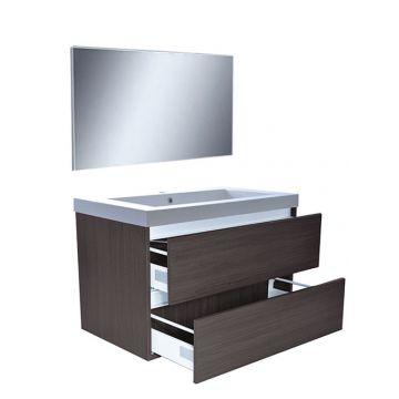 Wiesbaden Vision meubelset met spiegel 80 cm, houtnerf grijs