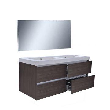 Wiesbaden Vision meubelset met spiegel 120 cm, houtnerf grijs