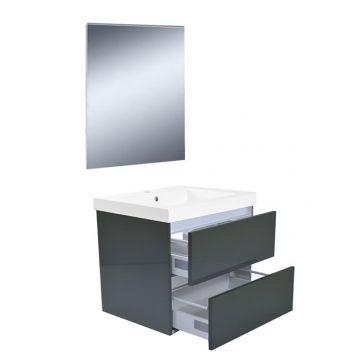 Wiesbaden Vision meubelset met spiegel 60 cm, hoogglans grijs