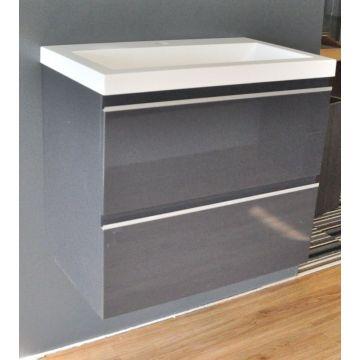 Wiesbaden wastafelonderkast met 2 laden zonder wastafel 60x36 cm, glanzend grijs