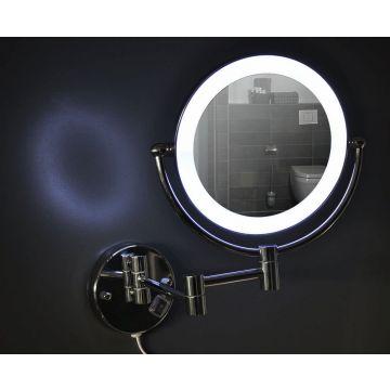 Wiesbaden scheerspiegel met LED-verlichting 3x vergrotend 20 cm, chroom