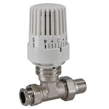 """Riko Parts thermostatisch radiatorventiel 1/2"""" x15 mm recht, wit"""