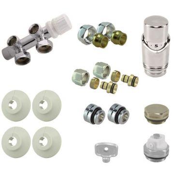 Riko Parts onderblok set compleet 16 x 2 eurok. met 15 mm knel haaks (rechts), chroom wit