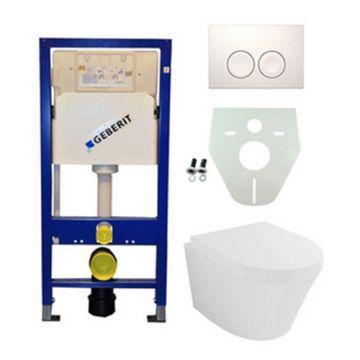 Toiletset Geberit UP100 Duofix + Wiesbaden Vesta hangend toilet met zitting + Geberit Delta21 bedieningsplaat, wit