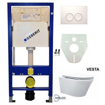Toiletset Geberit UP100 Duofix + Wiesbaden Vesta rimless hangend toilet met Flatline 2.0 zitting + Geberit Delta21 bedieningsplaat, wit