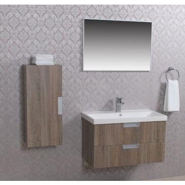 Wiesbaden Tempo badmeubelset 80 cm met keramische wastafel en spiegel en halfhoge zijkast, licht-eiken