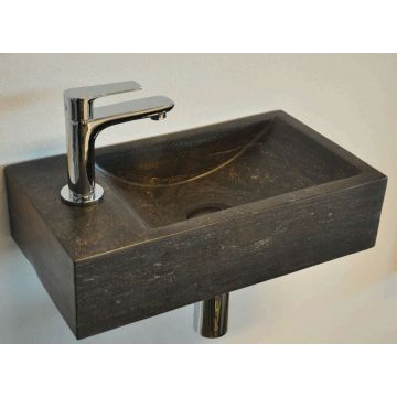 Wiesbaden B-stone One Pack fontein links met Amador XL fonteinkraan, zwart/chroom