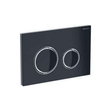 Geberit Sigma21 bedieningspaneel, plaat zwart, knoppen zwart, randen chroom