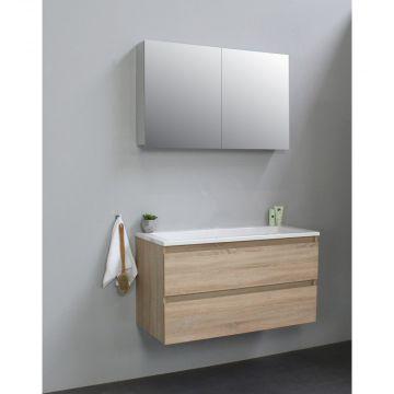 Sub Online wastafelset zonder kraangat met spiegelkast grijs (bxlxh) 100x46x55 cm, eiken / glans wit