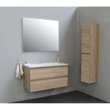 Sub Online wastafelset zonder kraangat met spiegel (bxlxh) 100x46x55 cm, eiken / glans wit