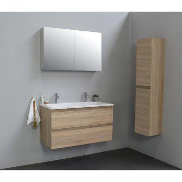 Sub Online wastafelset met 2 kraangaten met spiegelkast grijs (bxlxh) 100x46x55 cm, eiken / glans wit