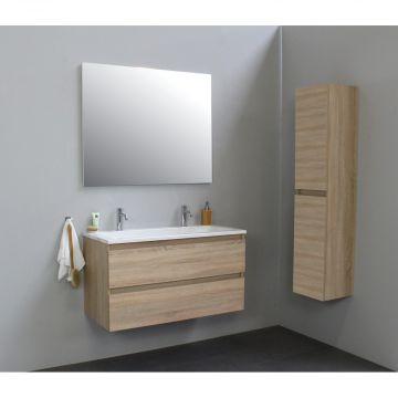 Sub Online wastafelset met 2 kraangaten met spiegel (bxlxh) 100x46x55 cm, eiken / glans wit