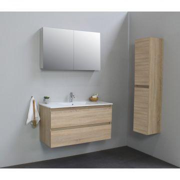 Sub Online wastafelset met 1 kraangat met spiegelkast grijs (bxlxh) 100x46x55 cm, eiken / glans wit