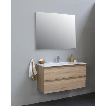 Sub Online wastafelset met 1 kraangat met spiegel (bxlxh) 100x46x55 cm, eiken / glans wit