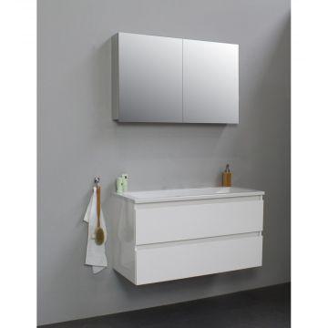 Sub Online wastafelset zonder kraangat met spiegelkast grijs (bxlxh) 100x46x55 cm, hoogglans wit / glans wit