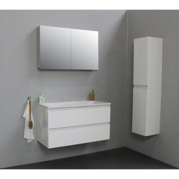 Sub Online wastafelset met 1 kraangat met spiegelkast grijs (bxlxh) 100x46x55 cm, hoogglans wit / glans wit