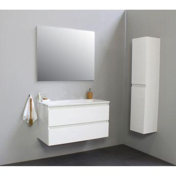 Sub Online wastafelset zonder kraangat met spiegel (bxlxh) 100x46x55 cm, hoogglans wit / glans wit