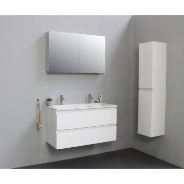 Sub Online wastafelset met 2 kraangaten met spiegelkast grijs (bxlxh) 100x46x55 cm, hoogglans wit / glans wit