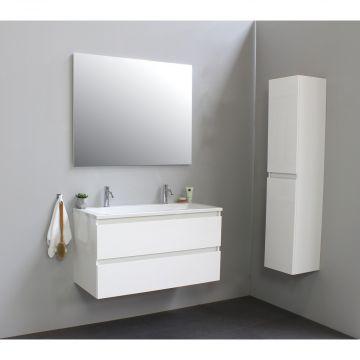 Sub Online wastafelset met 2 kraangaten met spiegel (bxlxh) 100x46x55 cm, hoogglans wit / glans wit