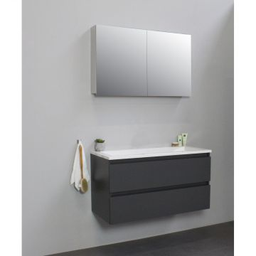 Sub Online wastafelset zonder kraangat met spiegelkast grijs (bxlxh) 100x46x55 cm, mat antraciet / glans wit