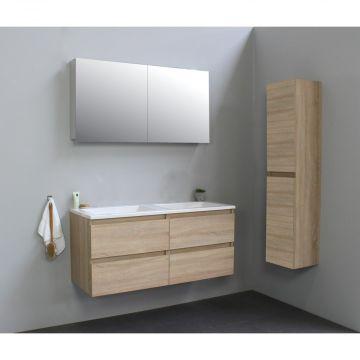 Sub Online wastafelset zonder kraangat met spiegelkast grijs (bxlxh) 120x46x55 cm, eiken / glans wit