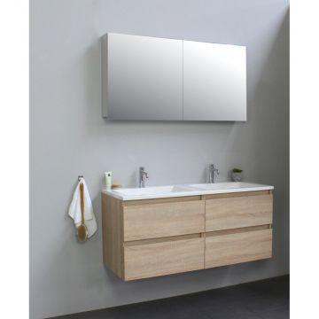 Sub Online wastafelset met 2 kraangaten met spiegelkast grijs (bxlxh) 120x46x55 cm, eiken / glans wit