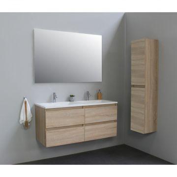 Sub Online wastafelset met 2 kraangaten met spiegel (bxlxh) 120x46x55 cm, eiken / glans wit