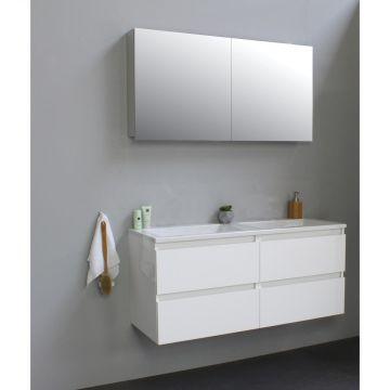 Sub Online wastafelset zonder kraangat met spiegelkast grijs (bxlxh) 120x46x55 cm, hoogglans wit / glans wit
